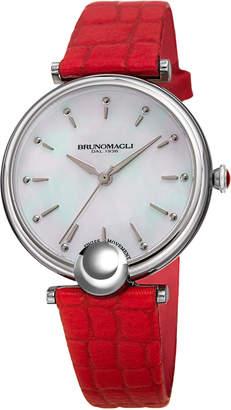 Bruno Magli 34mm Miranda Crocodile Watch, Red/Silver
