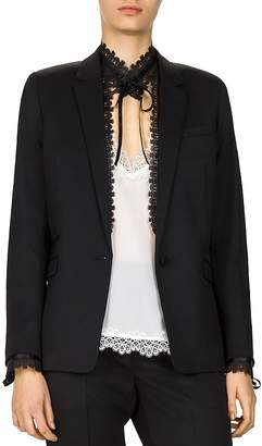The Kooples Removable-Lace-Detail Stretch Blazer