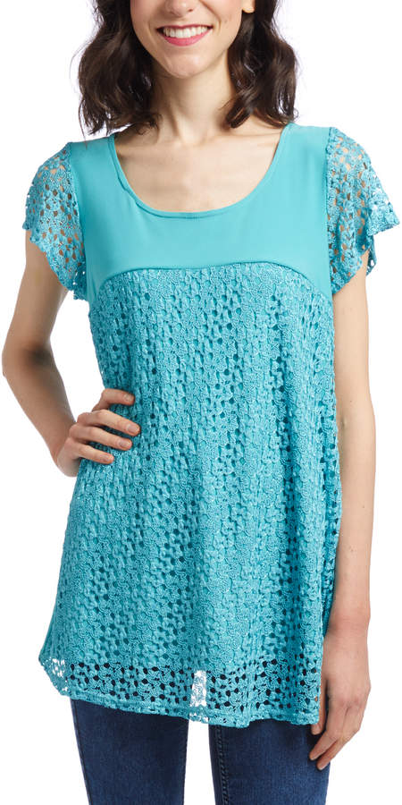 Turquoise Crochet-Accent Tunic - Women