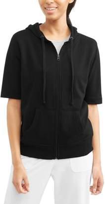 Generic Women's Athleisure Short Sleeve Full Zip French Terry Hoodie