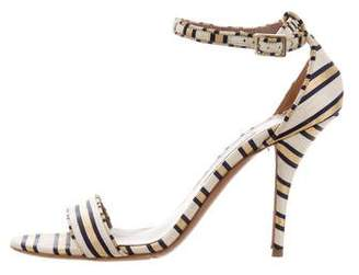 Tabitha Simmons Striped Ankle Strap Sandals