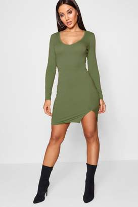boohoo Long Sleeved Split Front Mini Dress
