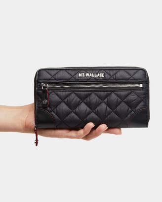 MZ Wallace Black with Silver Hardware Long Crosby Wallet