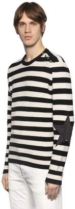 Just Cavalli Striped Wool Sweater W/ Star Patches