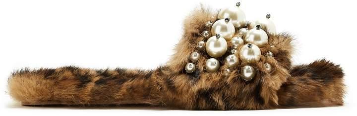 MIU MIU Embellished rabbit-fur slides