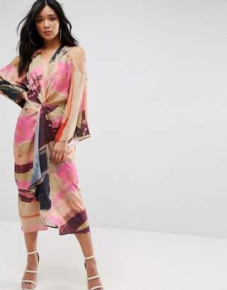Asos Design Abstract Print Kimono Midi Dress