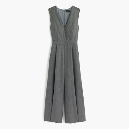 J.CrewCollection wide-leg cropped jumpsuit in wool flannel