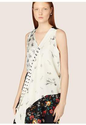 Derek Lam Sleeveless Asymmetrical Mixed Print Blouse