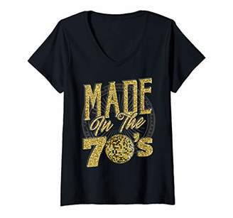 Womens 1970s Retro Disco Lovers Gift Design Made in Disco V-Neck T-Shirt