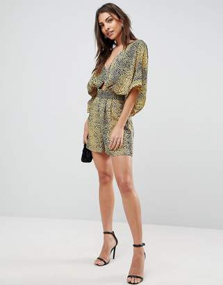 Asos Romper with Kimono Sleeves and Cut Out in Animal Print