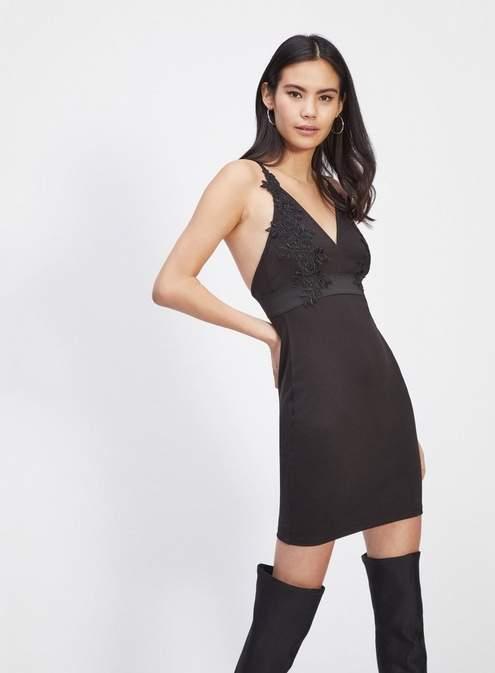 Black lace detail bodycon dress