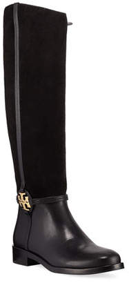 Tory Burch Miller Suede Logo Knee Boots