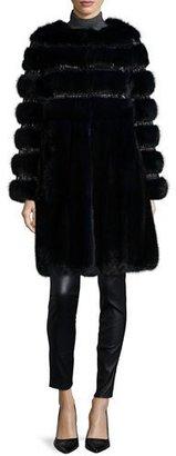 Oscar de la Renta Nafa Embroidered Sable Fur Coat, Navy $59,000 thestylecure.com