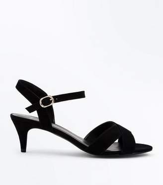 69e472fae547 New Look Wide Fit Black Suedette Kitten Heel Sandals