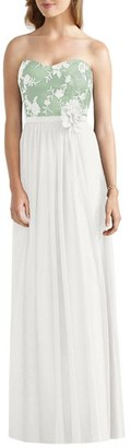 Women's Social Bridesmaids Embroidered Bodice Strapless Tulle Gown $200 thestylecure.com