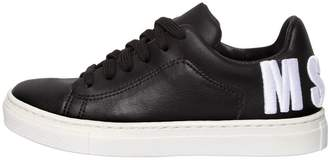 MSGM Logo Embroidered Leather Sneakers