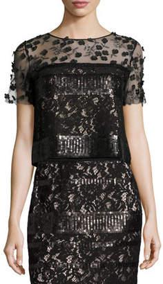 Elie Tahari Jules Sequined Blouse w/ Floral Appliqué Mesh Yoke $398 thestylecure.com
