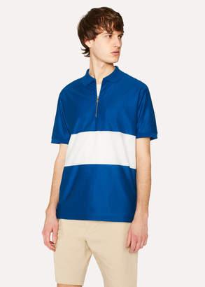 Paul Smith Men's Blue Block-Stripe Zip Polo Shirt