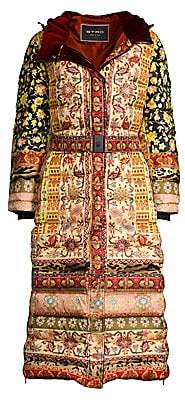 Etro Women's Ribbon Floral Printed Belted Long Puffer Coat