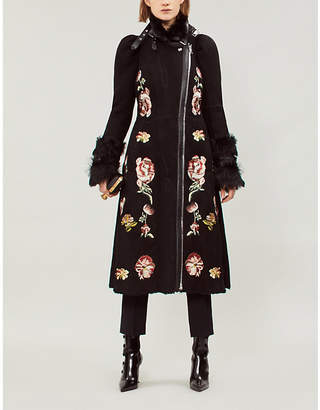 Alexander McQueen Floral-embroidered shearling and suede coat