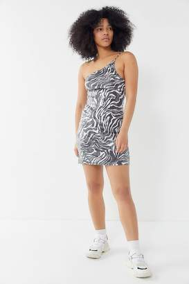 Motel Sattia Zebra Sequin One-Shoulder Mini Dress