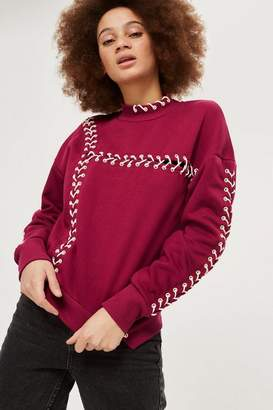 Topshop Petite Lace Up Sweatshirt