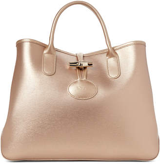 Longchamp Gold Roseau Small Leather Tote