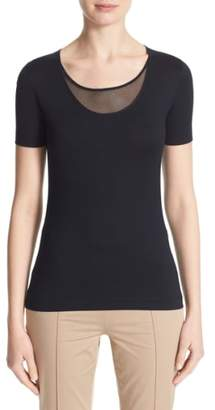 Akris Punto Mesh Inset Scoop Neck Tee