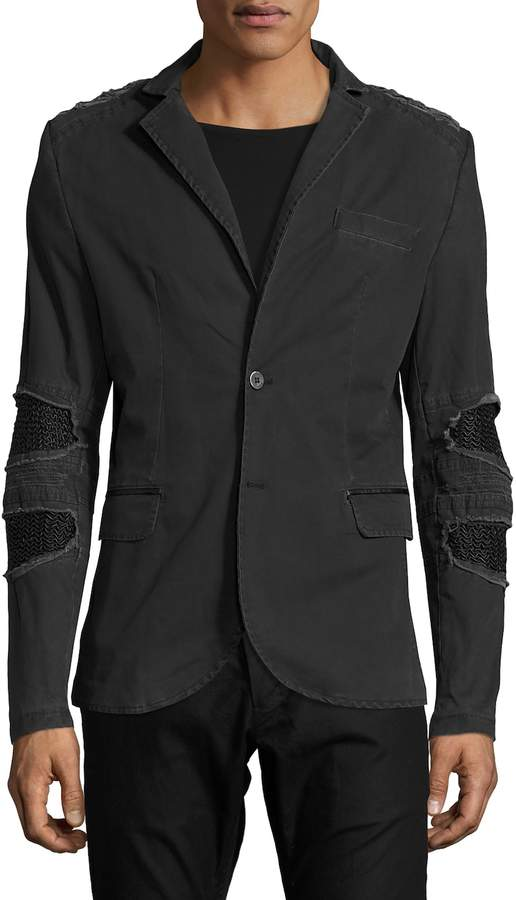 RON TOMSON Men's Ripped Patched Slim Fit Motorcycle Jacket