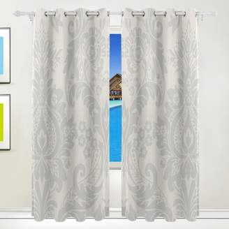 Hermes MAPOLO Silver Damask Flower Curtains Room Darkening Thermal Insulated Blackout Window Panel Drapes for Living Room Bedroom 84 x 55 Inches,Set of 2 Panels