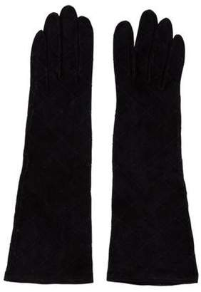 Chanel Suede Stitch Gloves Navy Suede Stitch Gloves