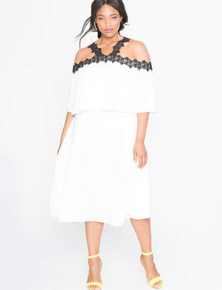 ELOQUII Off the Shoulder Lace Detail Dress