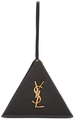 Saint Laurent Pyramid logo-embellished leather clutch