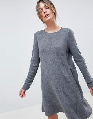 Asos DESIGN Dress In Fine Knit With Ruffle Hem