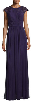 La Femme Beaded-Sleeve Pleated Crepe Gown, Plum $438 thestylecure.com