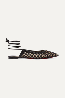 Christian Louboutin Cage And Curry Woven Leather And Mesh Point-toe Flats - Black