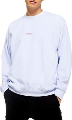 Topman Washed London Classic Fit Crewneck Sweatshirt