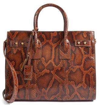 Saint Laurent Small Monogram Soft Vintage Genuine Python Satchel