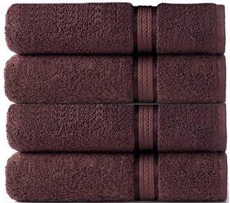 Ringspun Cotton Craft - 4 Pack - Ultra Soft Oversized Extra Large Bath Towels 30x54 Chocolate- 100% Pure Cotton - Luxurious Rayon Trim - Ideal for Daily Use - Each Towel Weighs 22 Ounces