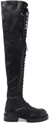 Ann Demeulemeester Lace-up Leather Over-the-knee Boots - Black