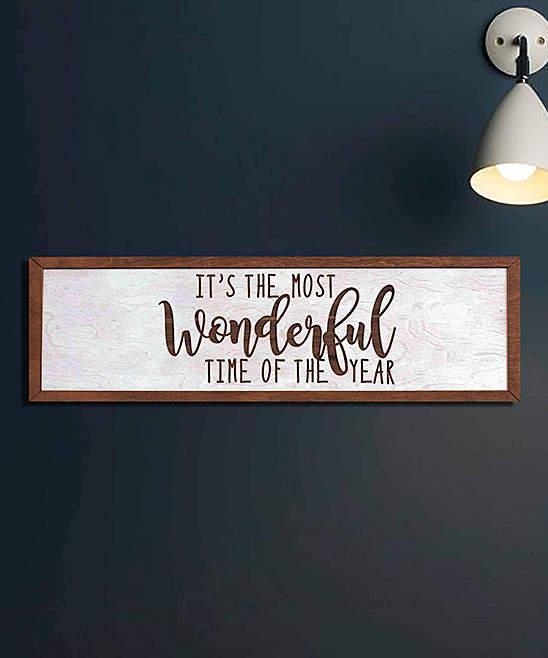 White 'Most Wonderful Time' Framed Sign