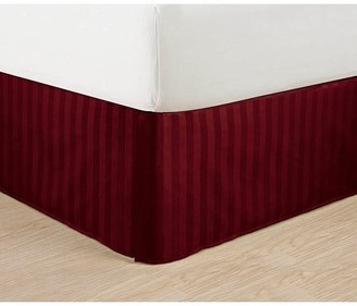 "Elegant Comfort Wrinkle Free - STRIPE Bed Skirt - Pleated Tailored 14"" Drop - All Sizes and Colors , Full , Burgundy"