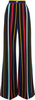 Elie Saab Wide-Leg Striped Cady Trousers