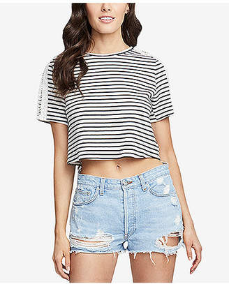 Rachel Roy Striped Boxy T-Shirt with Crossover Split Back