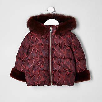 River Island Mini girls Red print faux fur padded coat