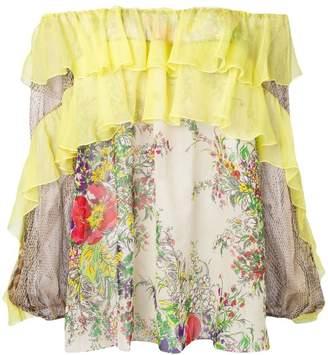 Blumarine off shoulder ruffle blouse