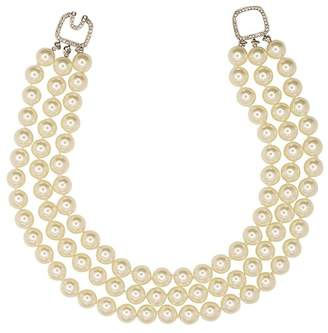 Kenneth Jay Lane 3 Row Pearl Necklace With Silver Clasp
