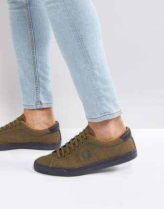 Fred Perry Underspin Heavy Waxed Canvas Sneakers In Khaki