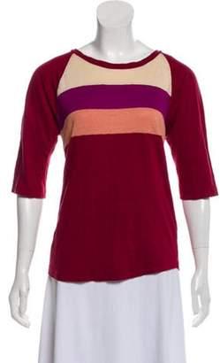 Isabel Marant Linen Colorblock T-Shirt Red Linen Colorblock T-Shirt