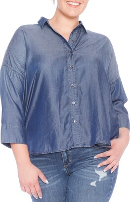 SLINK Jeans High/Low Oversize Button Down Shirt